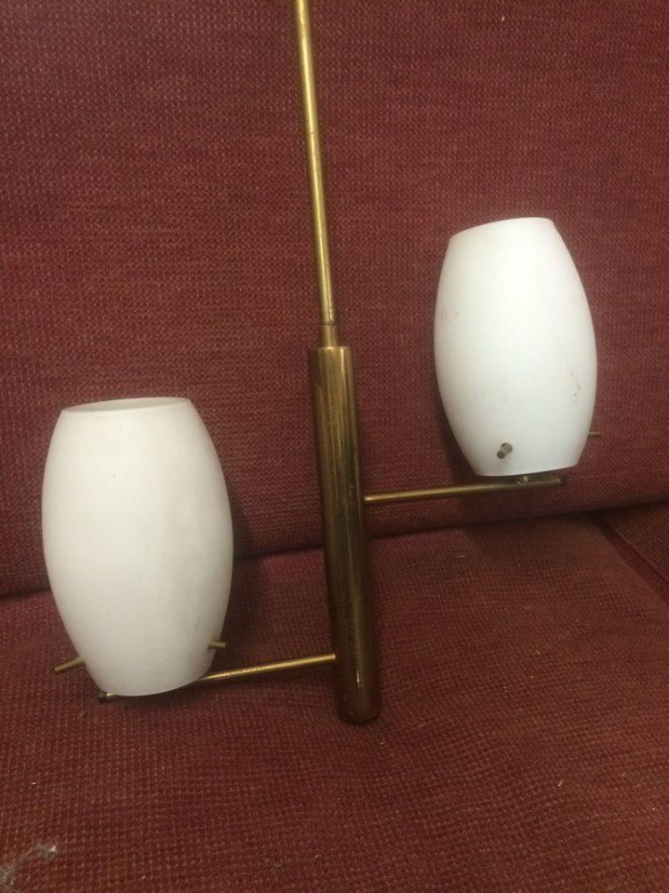 Ben noto Lampadario anni 50 opalina e ottone – LABORATORIO VINTAGE PS74
