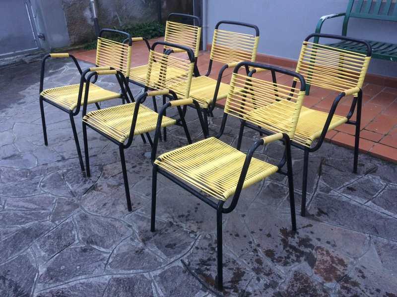 Sedie da bar in corda di pvc gialla vintage disp pezzi solo