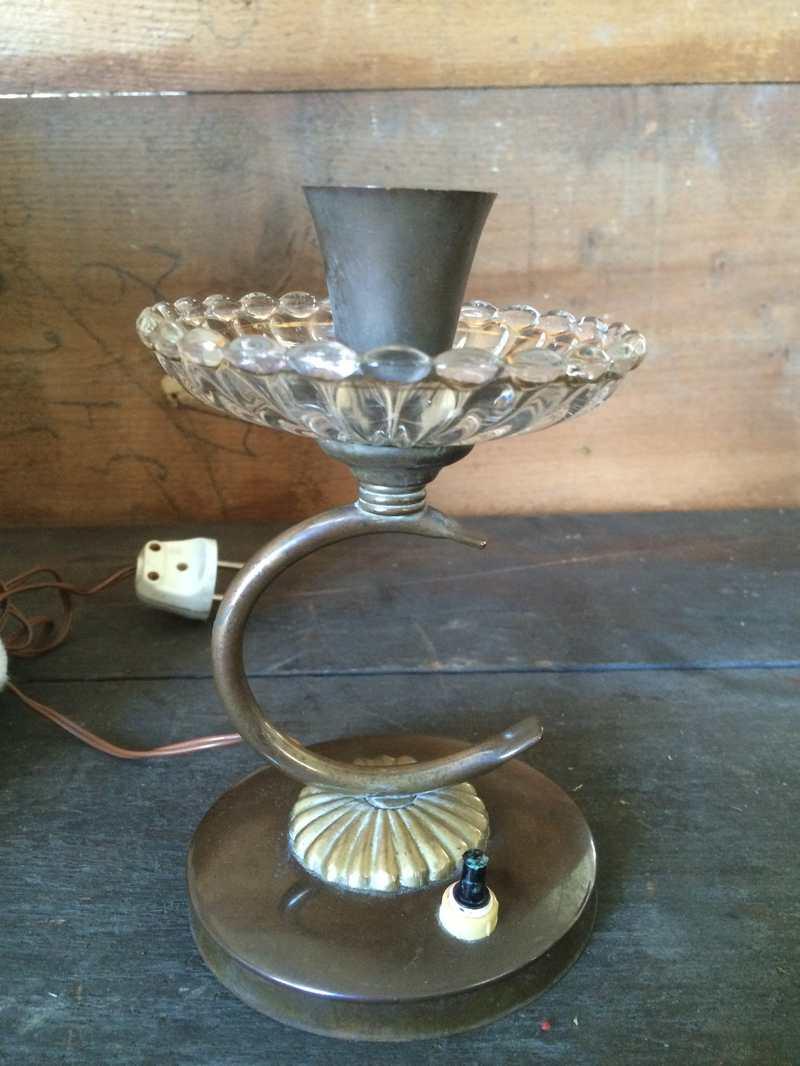 Lampada anni 50 in vetro e ottone laboratorio vintage - Tavolini vetro e ottone ...