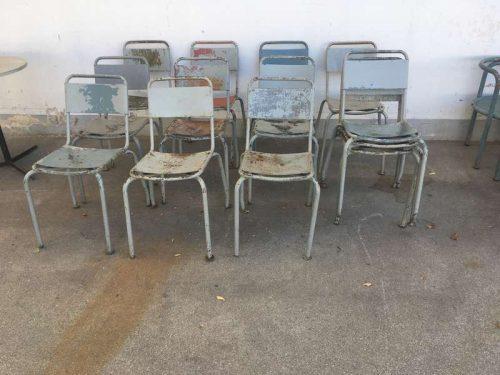 Sedie industriali vintage – 16 pz SOLO NOLEGGIO – LABORATORIO VINTAGE
