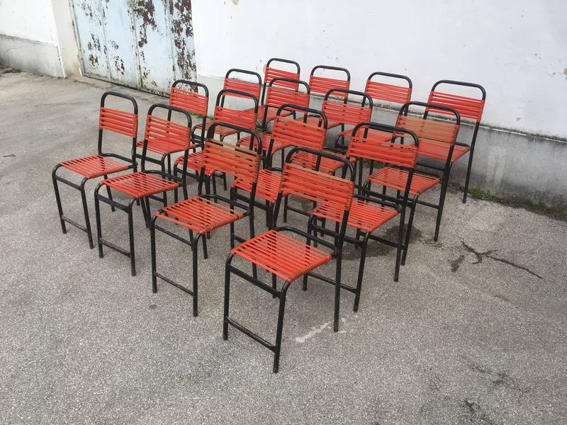 Sedie da bar in corda di pvc rossa impilabili vintage u blocco