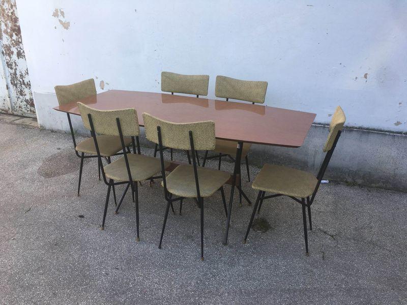 Tavolo con 6 sedie anni 50 laboratorio vintage - Sedie design anni 50 ...