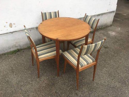 Tavolo tondo allungabile con sedie anni 50 laboratorio for Tavolo allungabile con sedie