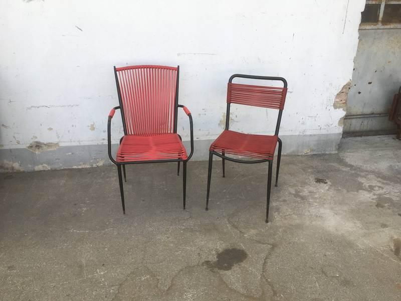 Sedie da bar in corda di pvc rossa vintage coppia for Sedie pvc design