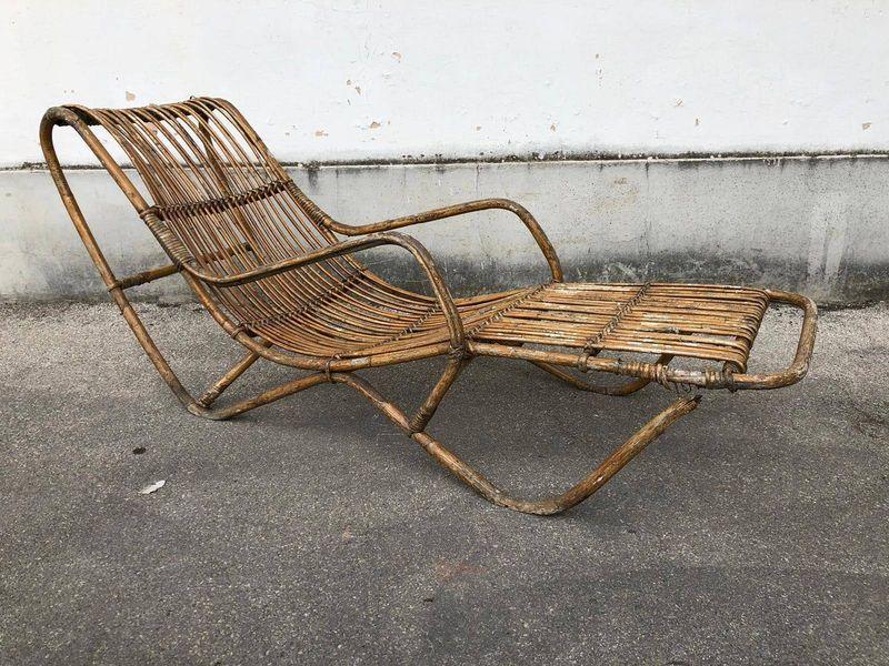Plafoniere In Vimini : Chaise longue in vimini vintage u laboratorio